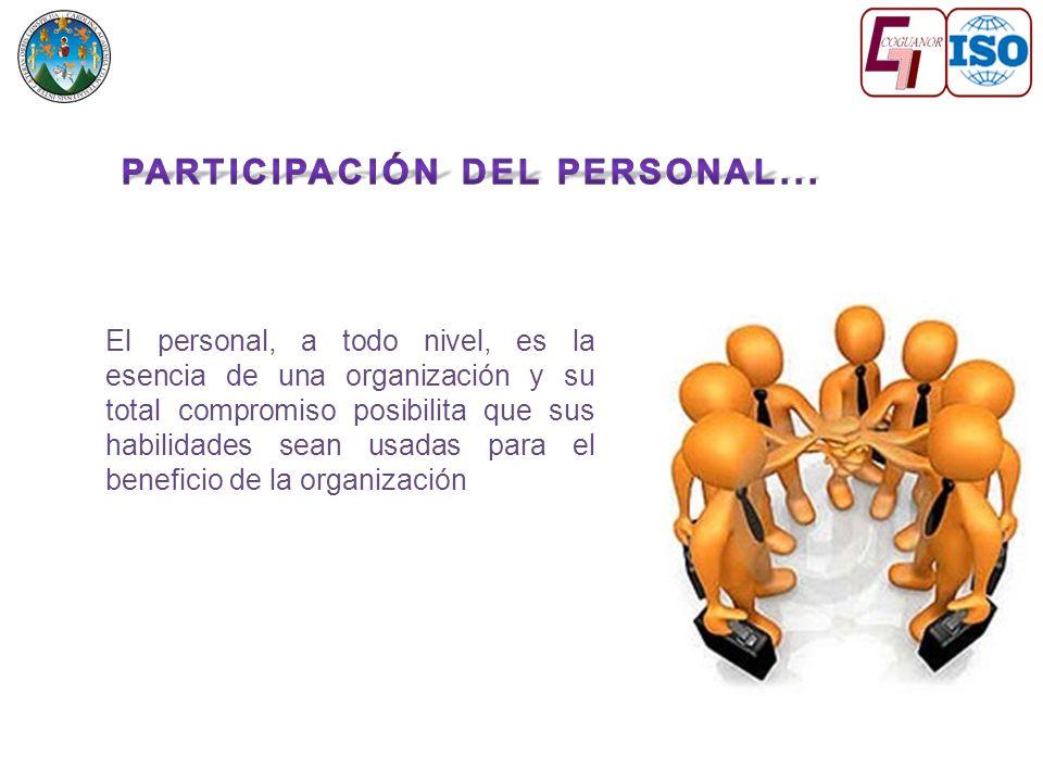 El personal, a todo nivel, es la esencia de una organización y su total compromiso posibilita que sus habilidades sean usadas para el beneficio de la organización