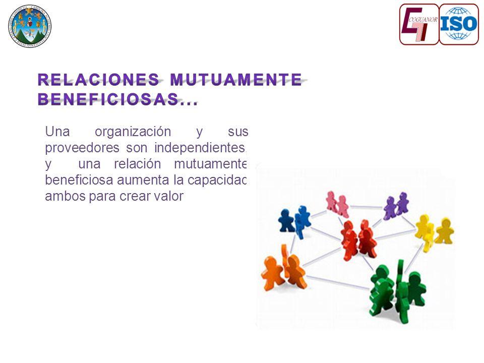 Una organización y sus proveedores son independientes, y una relación mutuamente beneficiosa aumenta la capacidad ambos para crear valor