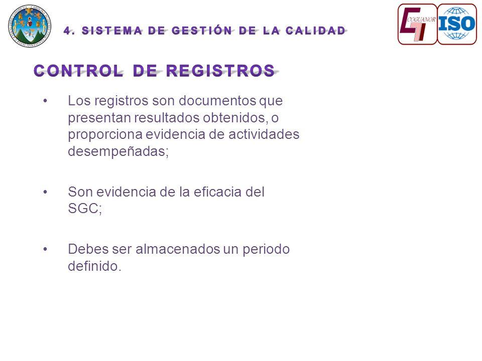 Los registros son documentos que presentan resultados obtenidos, o proporciona evidencia de actividades desempeñadas; Son evidencia de la eficacia del SGC; Debes ser almacenados un periodo definido.