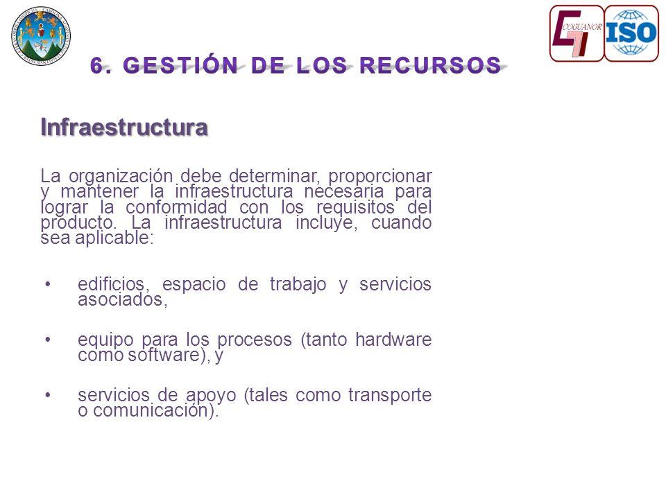 Infraestructura La organización debe determinar, proporcionar y mantener la infraestructura necesaria para lograr la conformidad con los requisitos del producto.