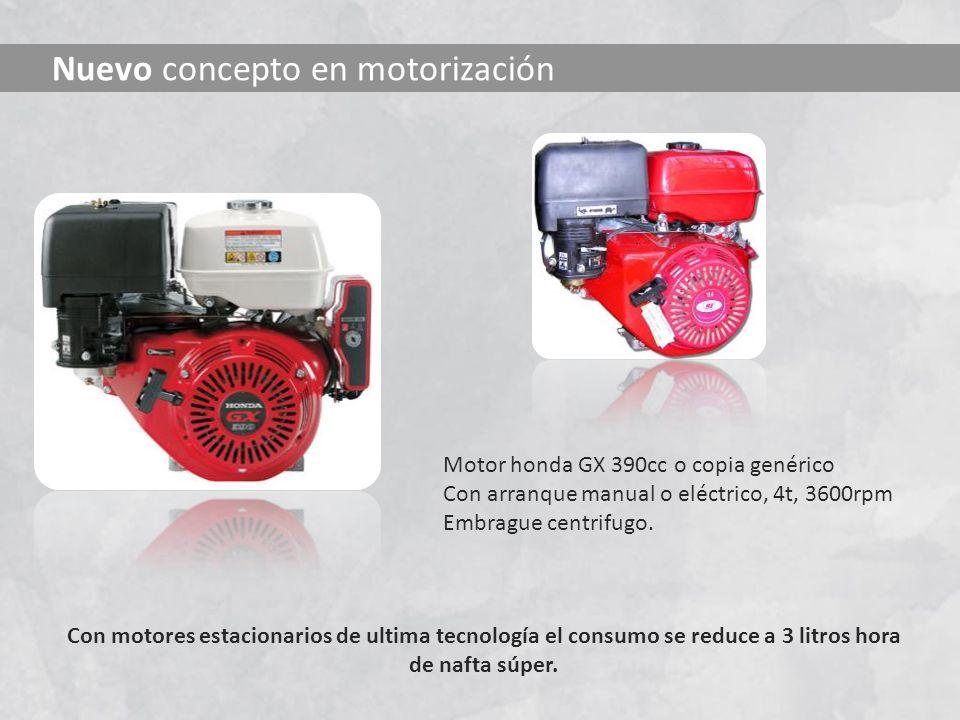 Con motores estacionarios de ultima tecnología el consumo se reduce a 3 litros hora de nafta súper. Nuevo concepto en motorización Motor honda GX 390c