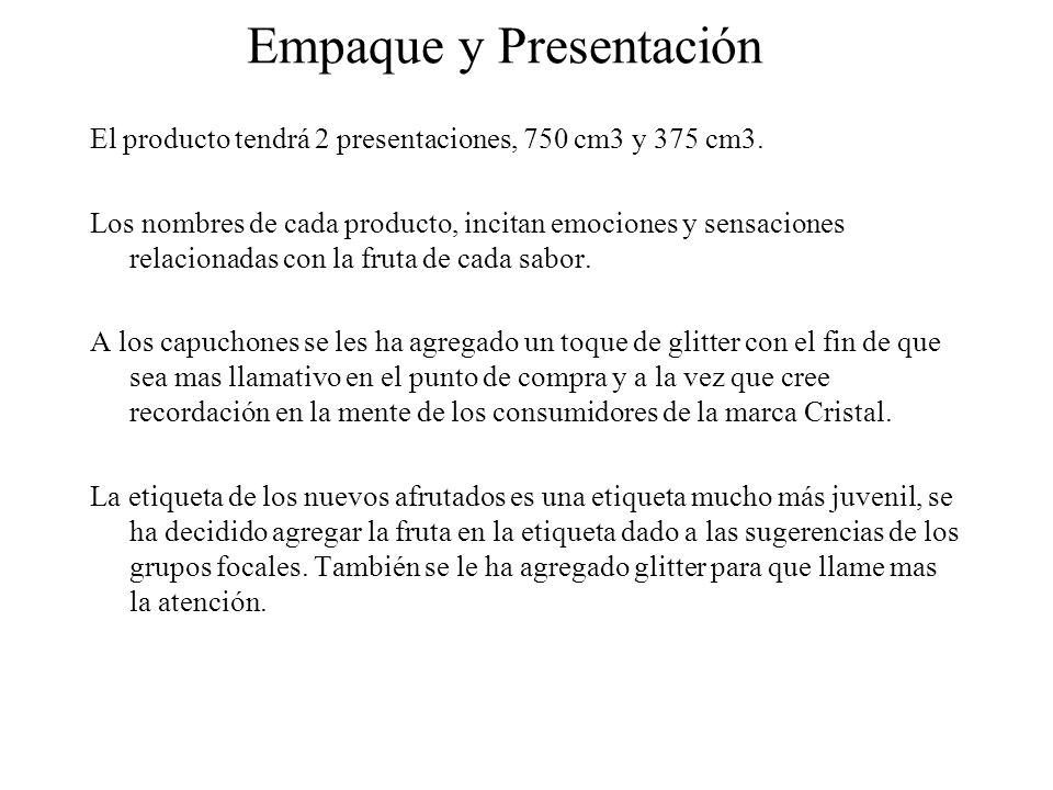 Empaque y Presentación El producto tendrá 2 presentaciones, 750 cm3 y 375 cm3. Los nombres de cada producto, incitan emociones y sensaciones relaciona