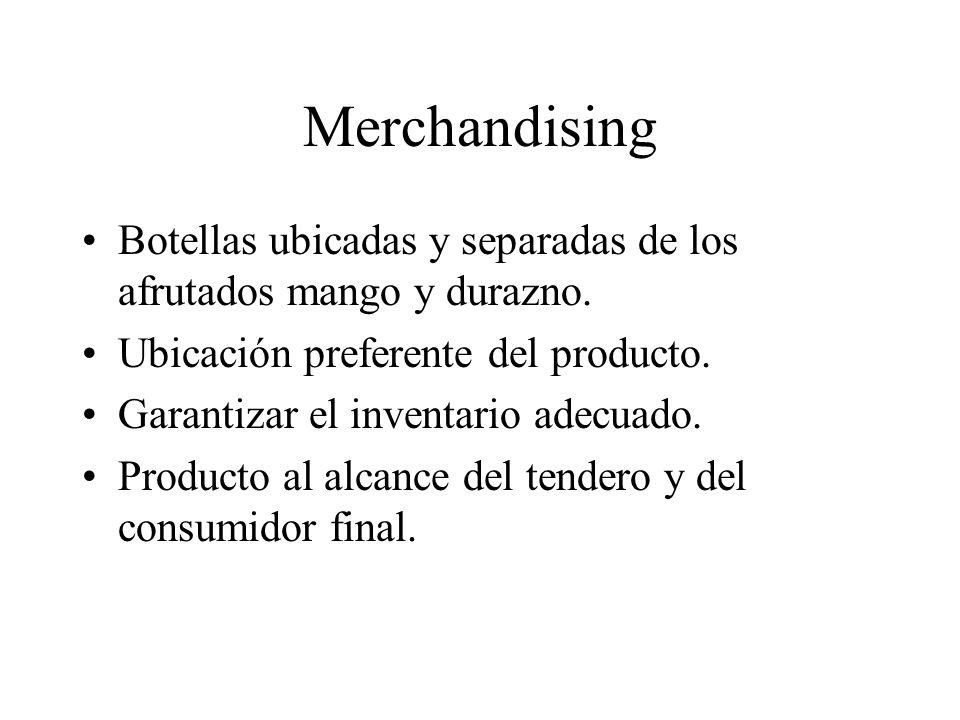 Merchandising Botellas ubicadas y separadas de los afrutados mango y durazno. Ubicación preferente del producto. Garantizar el inventario adecuado. Pr