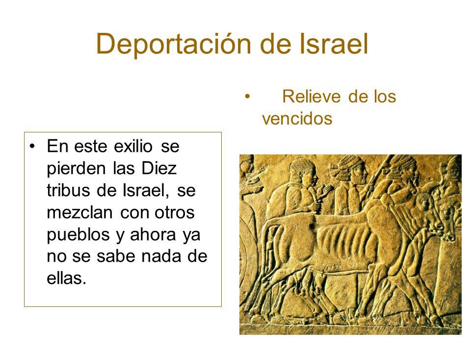Deportación de Israel En este exilio se pierden las Diez tribus de Israel, se mezclan con otros pueblos y ahora ya no se sabe nada de ellas. Relieve d