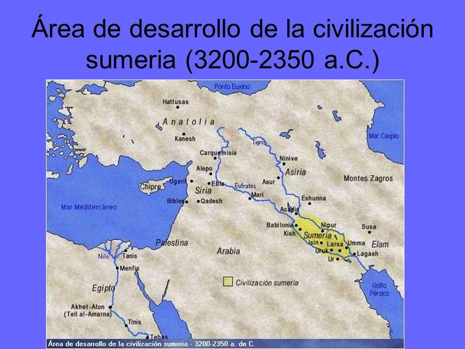 Área de desarrollo de la civilización sumeria (3200-2350 a.C.)