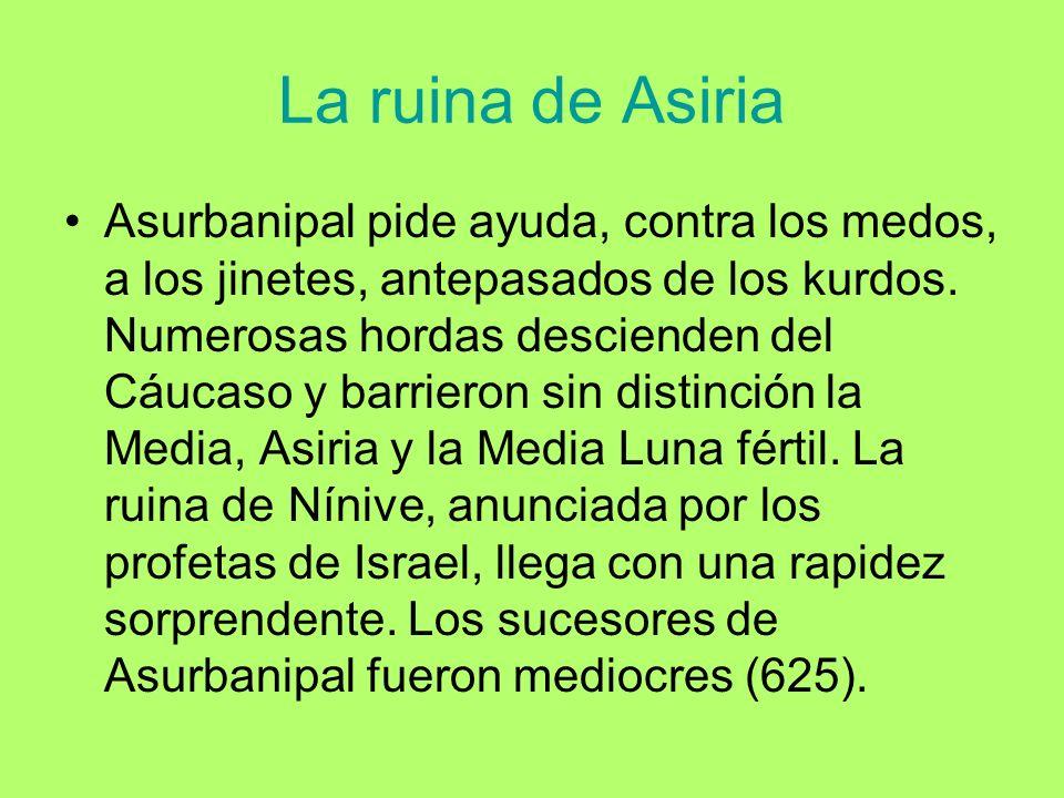 La ruina de Asiria Asurbanipal pide ayuda, contra los medos, a los jinetes, antepasados de los kurdos. Numerosas hordas descienden del Cáucaso y barri