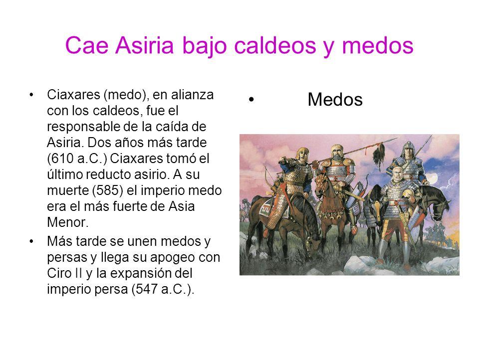 Cae Asiria bajo caldeos y medos Ciaxares (medo), en alianza con los caldeos, fue el responsable de la caída de Asiria. Dos años más tarde (610 a.C.) C