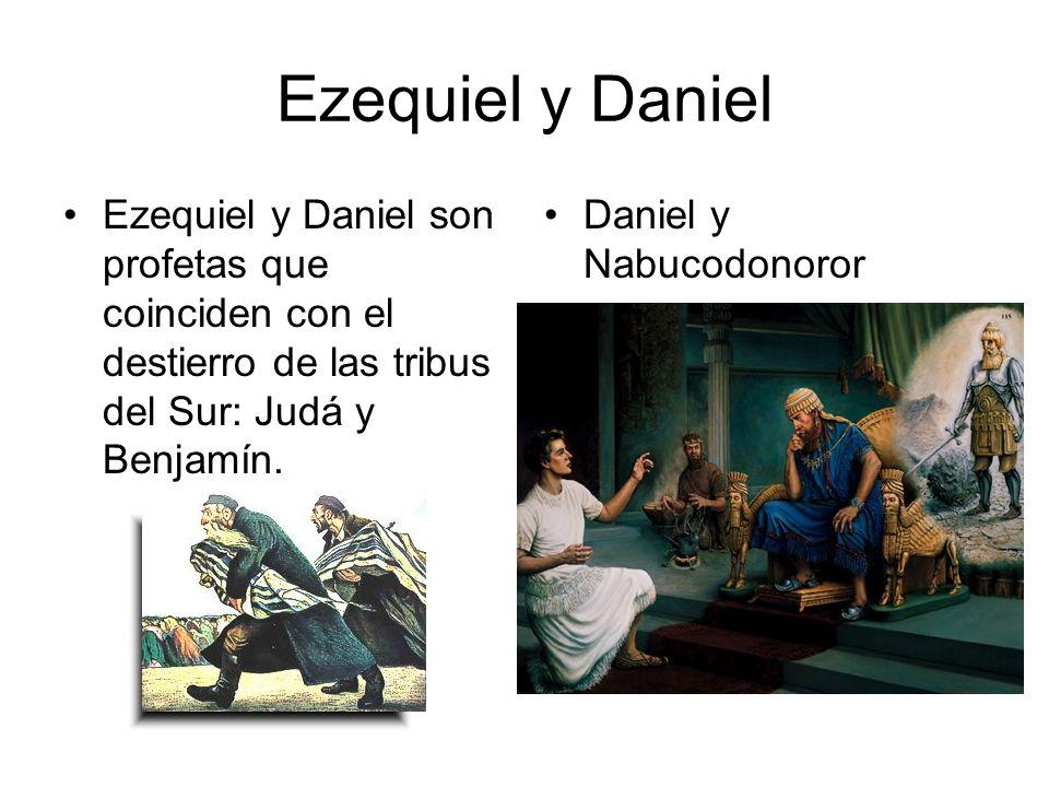 Ezequiel y Daniel Ezequiel y Daniel son profetas que coinciden con el destierro de las tribus del Sur: Judá y Benjamín. Daniel y Nabucodonoror