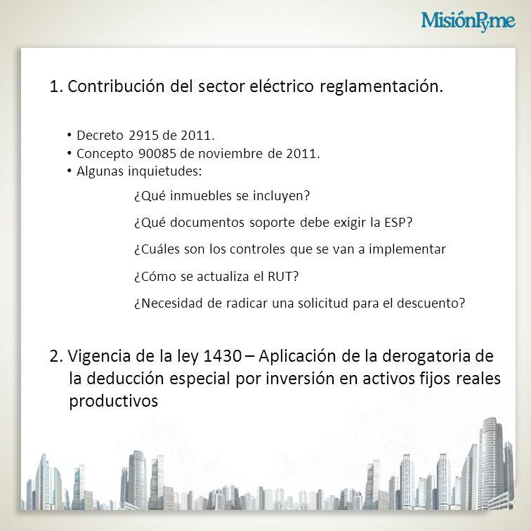 1.Contribución del sector eléctrico reglamentación.