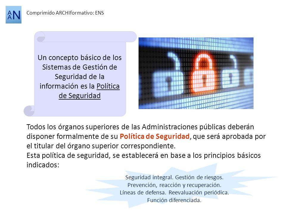 Comprimido ARCHIformativo: ENS Todos los órganos superiores de las Administraciones públicas deberán disponer formalmente de su Política de Seguridad,