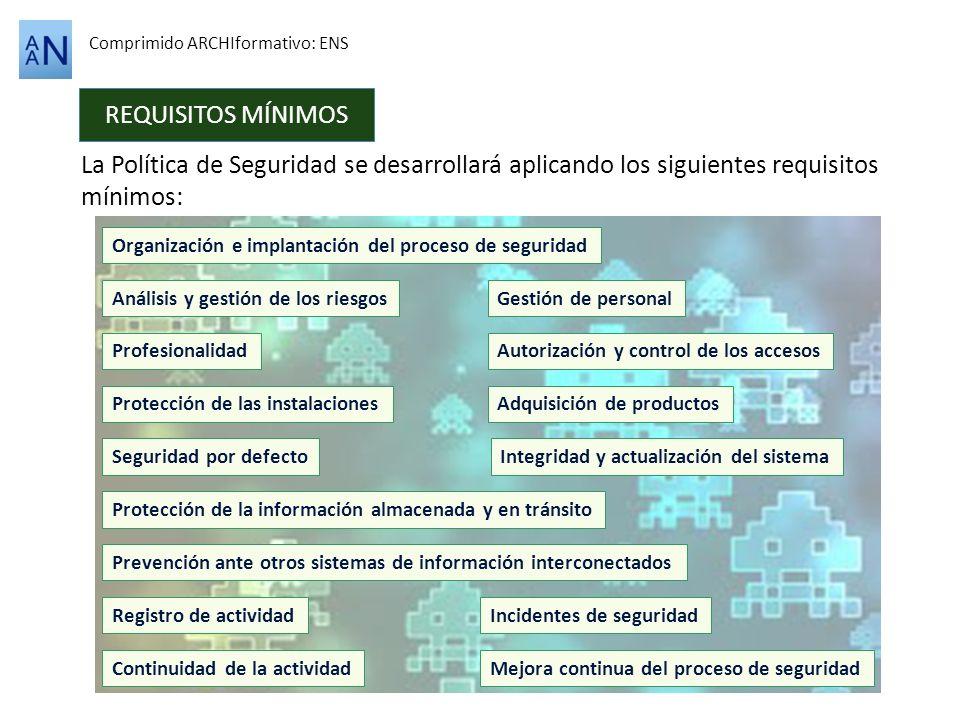 REQUISITOS MÍNIMOS Comprimido ARCHIformativo: ENS La Política de Seguridad se desarrollará aplicando los siguientes requisitos mínimos: Organización e