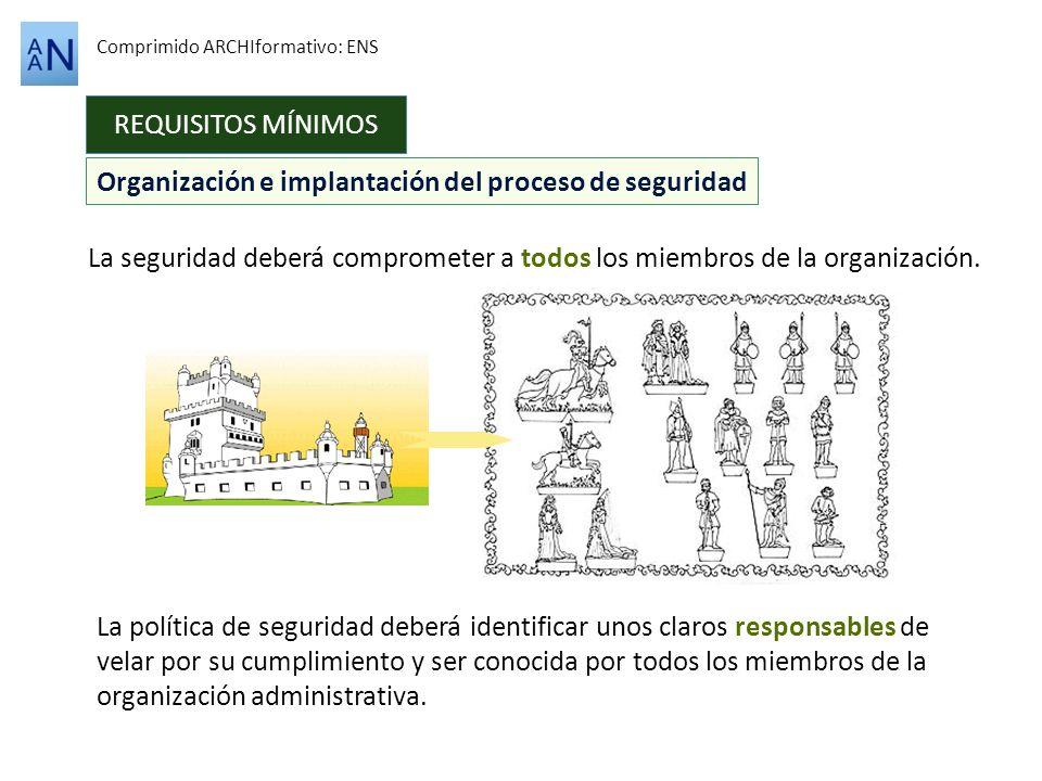 REQUISITOS MÍNIMOS Comprimido ARCHIformativo: ENS La seguridad deberá comprometer a todos los miembros de la organización. Organización e implantación