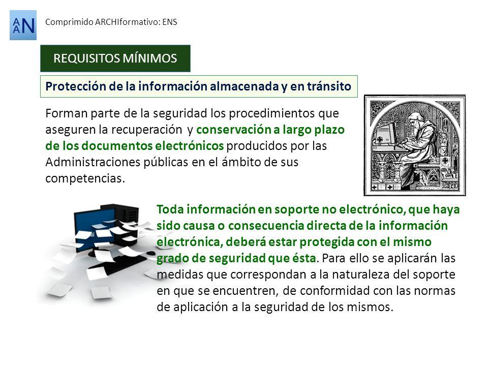Protección de la información almacenada y en tránsito REQUISITOS MÍNIMOS Comprimido ARCHIformativo: ENS Forman parte de la seguridad los procedimiento