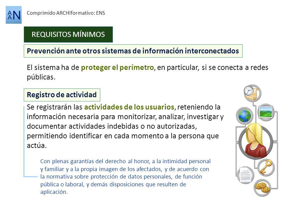 Prevención ante otros sistemas de información interconectados REQUISITOS MÍNIMOS Comprimido ARCHIformativo: ENS El sistema ha de proteger el perímetro