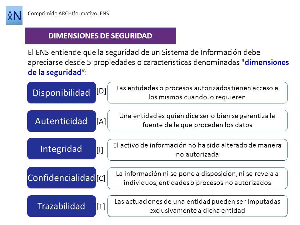 Comprimido ARCHIformativo: ENS DIMENSIONES DE SEGURIDAD El ENS entiende que la seguridad de un Sistema de Información debe apreciarse desde 5 propieda