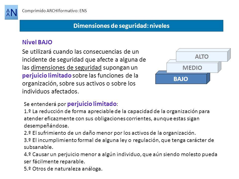 BAJO Comprimido ARCHIformativo: ENS Dimensiones de seguridad: niveles Se utilizará cuando las consecuencias de un incidente de seguridad que afecte a