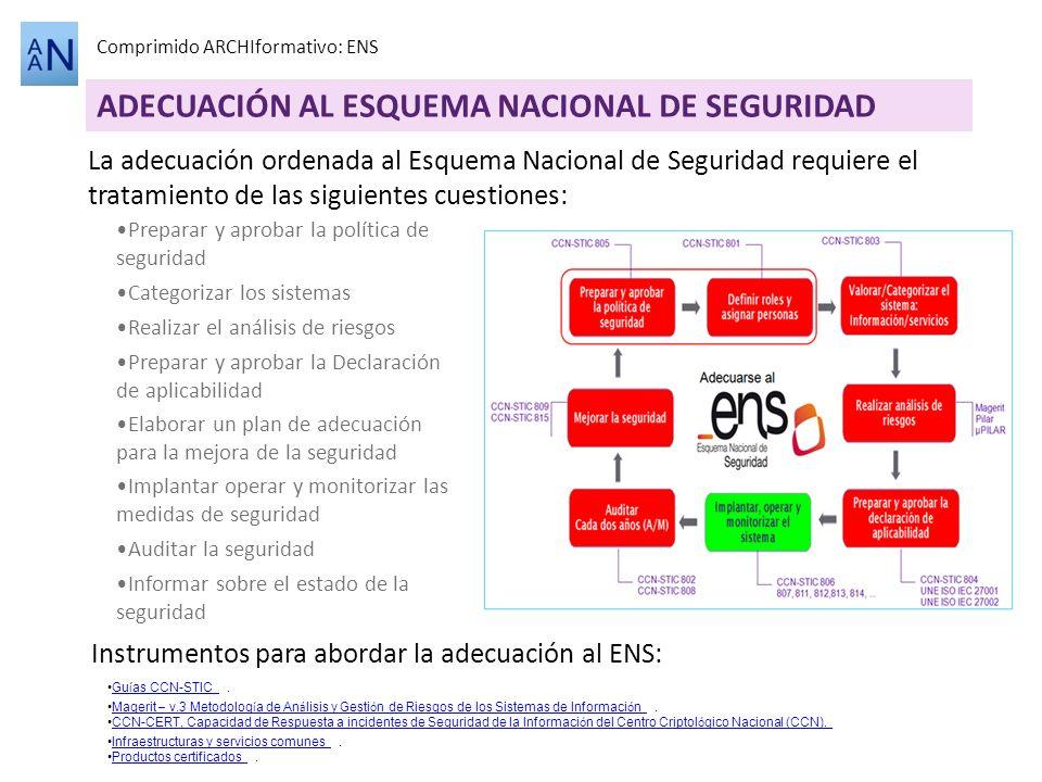 ADECUACIÓN AL ESQUEMA NACIONAL DE SEGURIDAD Comprimido ARCHIformativo: ENS La adecuación ordenada al Esquema Nacional de Seguridad requiere el tratami