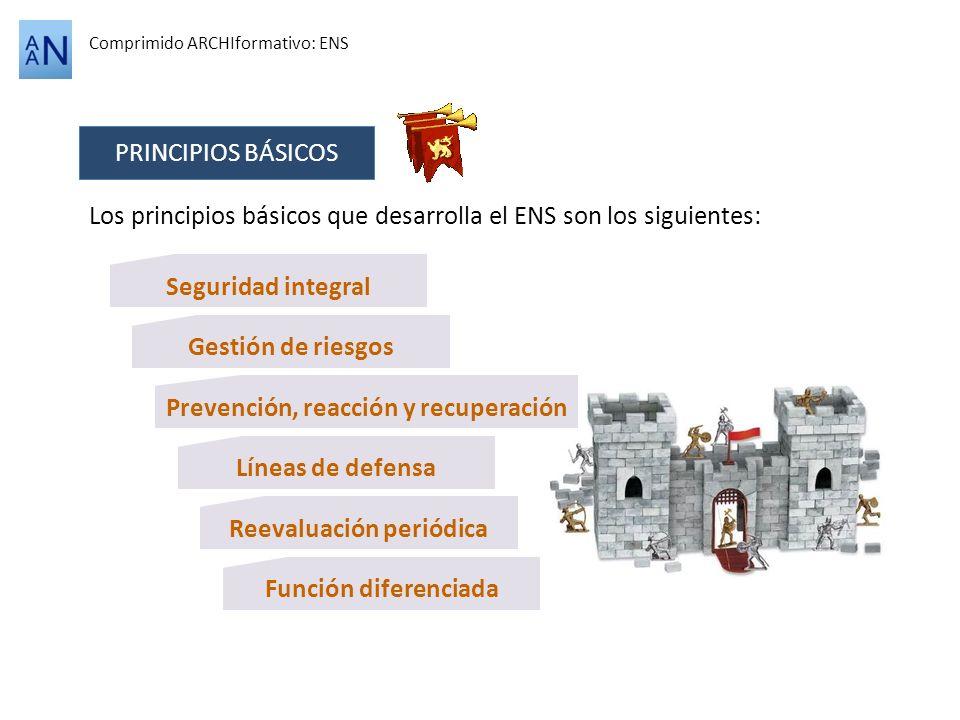 Comprimido ARCHIformativo: ENS PRINCIPIOS BÁSICOS Los principios básicos que desarrolla el ENS son los siguientes: Seguridad integral Gestión de riesg