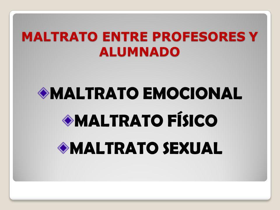 MALTRATO ENTRE PROFESORES Y ALUMNADO MALTRATO EMOCIONAL MALTRATO FÍSICO MALTRATO SEXUAL