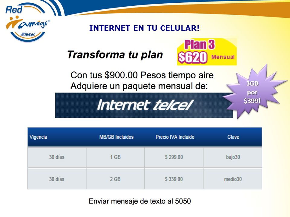 INTERNET EN TU CELULAR! 3GB por $399! $399!