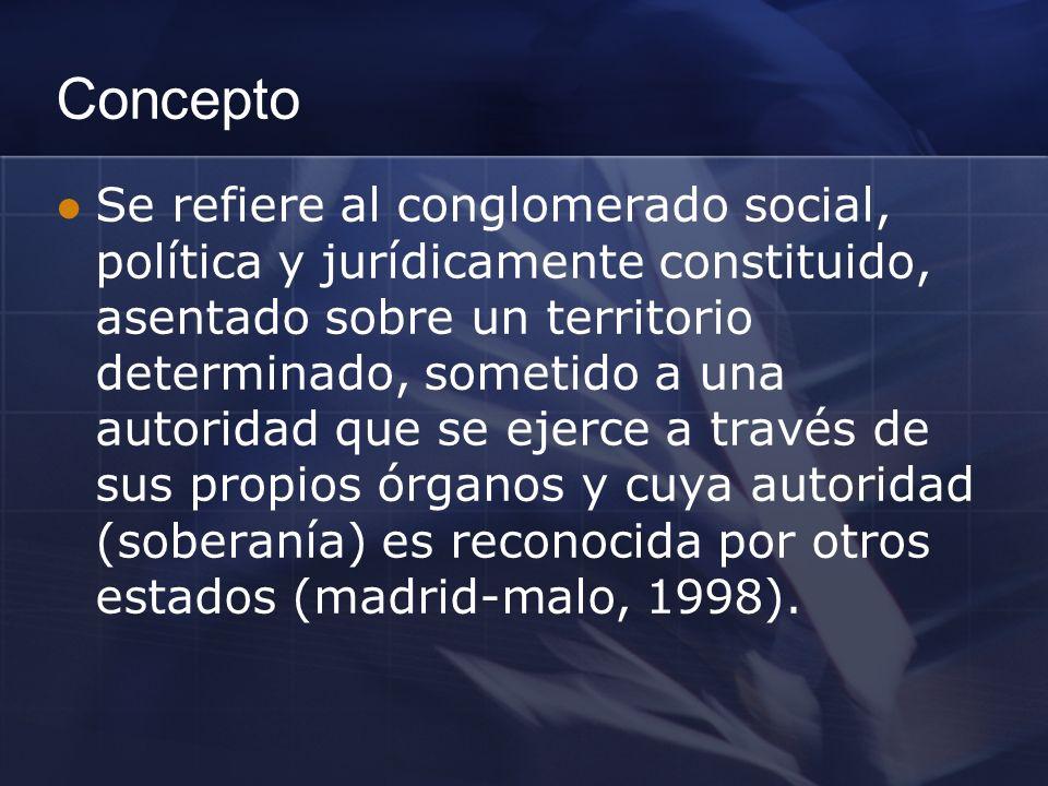 Concepto Se refiere al conglomerado social, política y jurídicamente constituido, asentado sobre un territorio determinado, sometido a una autoridad que se ejerce a través de sus propios órganos y cuya autoridad (soberanía) es reconocida por otros estados (madrid-malo, 1998).