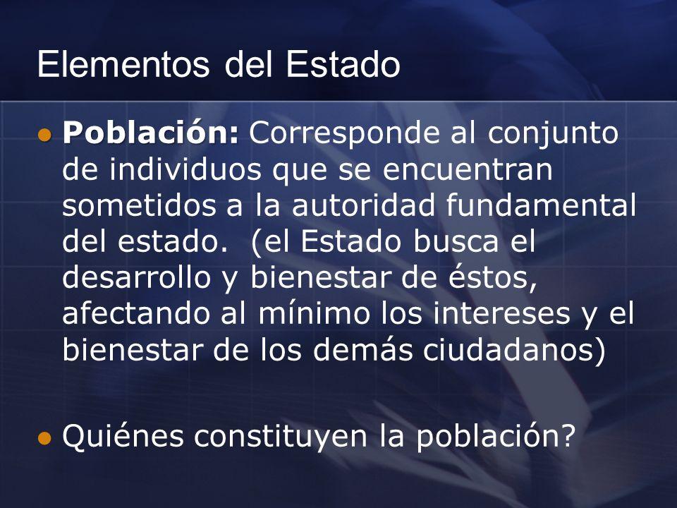 Elementos del Estado Población: Población: Corresponde al conjunto de individuos que se encuentran sometidos a la autoridad fundamental del estado. (e