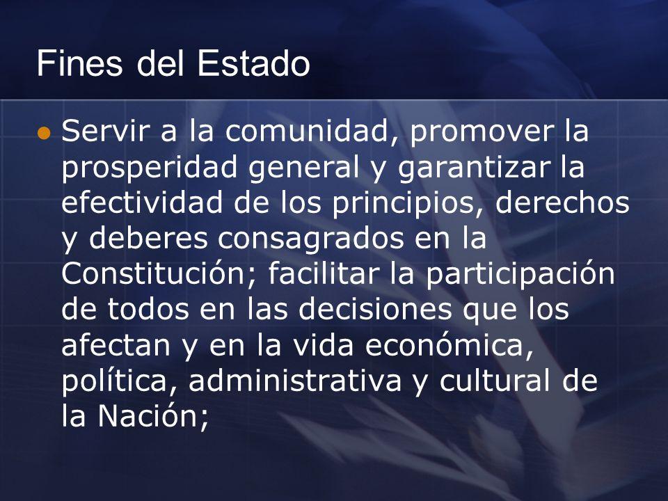 Fines del Estado Servir a la comunidad, promover la prosperidad general y garantizar la efectividad de los principios, derechos y deberes consagrados