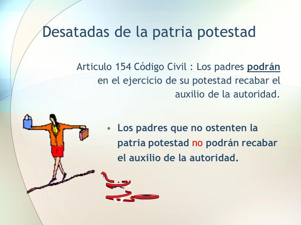 Los padres que no ostenten la patria potestad no podrán recabar el auxilio de la autoridad. Desatadas de la patria potestad Articulo 154 Código Civil