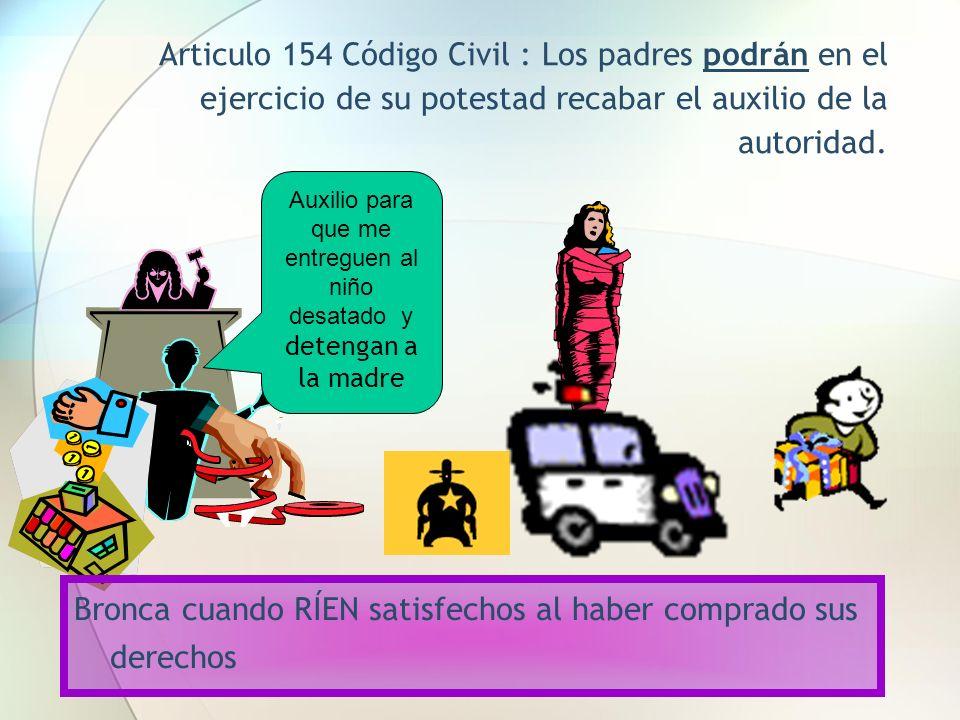 Articulo 154 Código Civil : Los padres podrán en el ejercicio de su potestad recabar el auxilio de la autoridad. Auxilio para que me entreguen al niño
