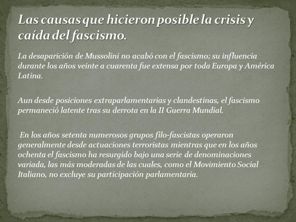 La desaparición de Mussolini no acabó con el fascismo; su influencia durante los años veinte a cuarenta fue extensa por toda Europa y América Latina.