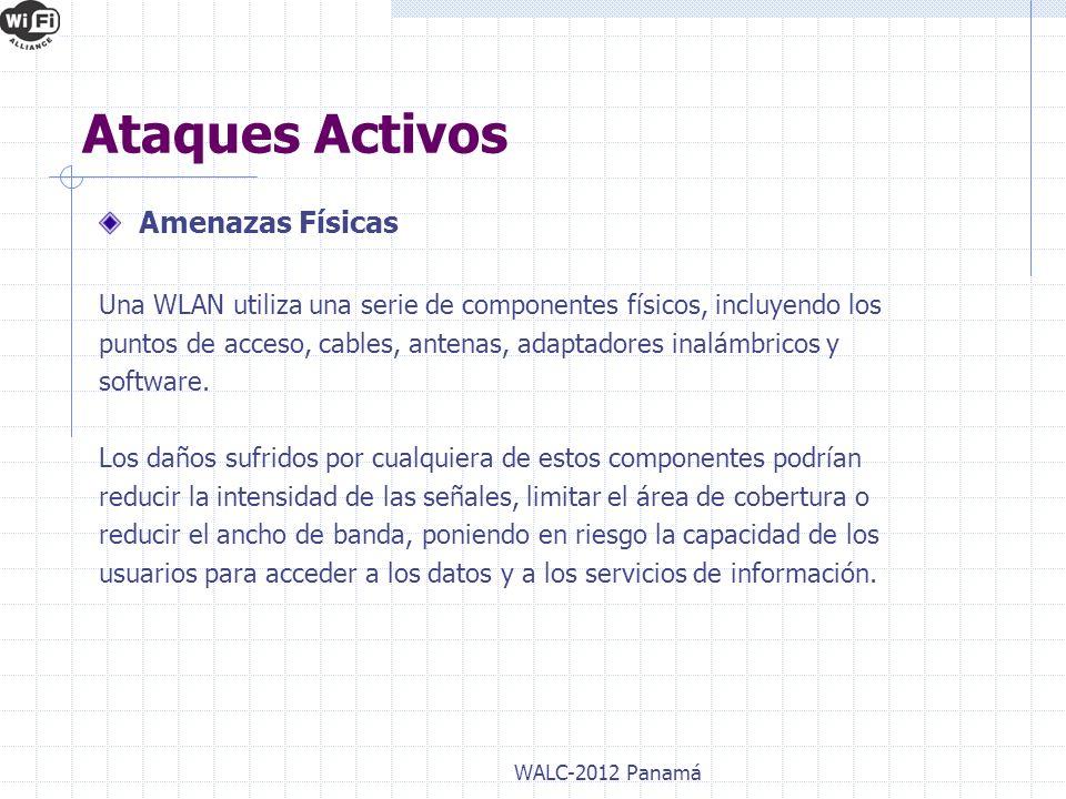 Amenazas Físicas Una WLAN utiliza una serie de componentes físicos, incluyendo los puntos de acceso, cables, antenas, adaptadores inalámbricos y softw