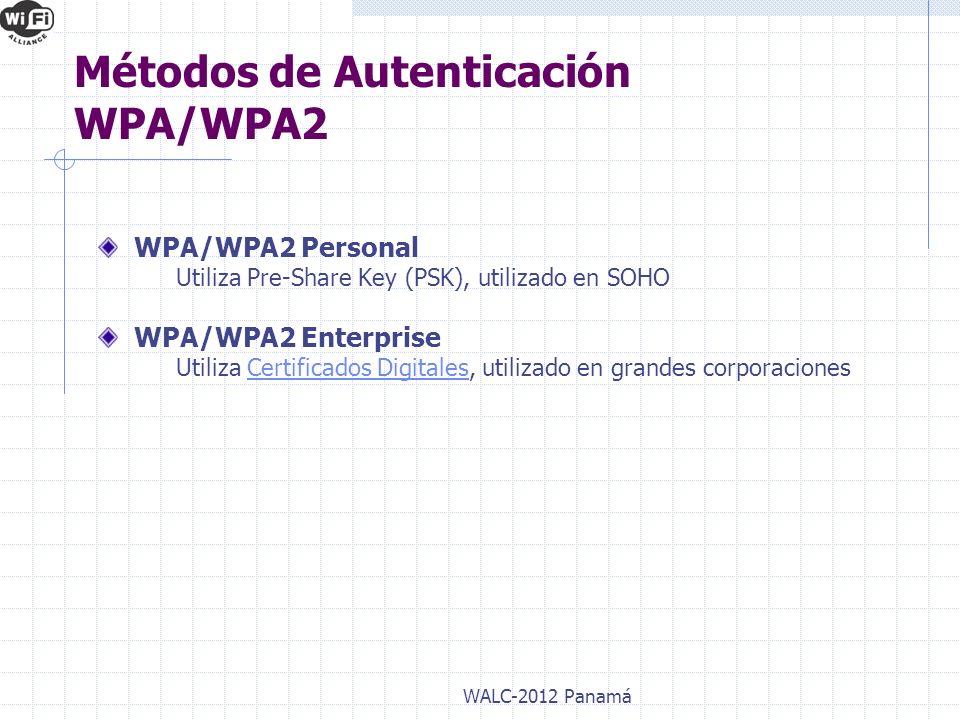 WPA/WPA2 Personal Utiliza Pre-Share Key (PSK), utilizado en SOHO WPA/WPA2 Enterprise Utiliza Certificados Digitales, utilizado en grandes corporacione