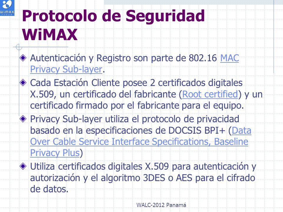 Autenticación y Registro son parte de 802.16 MAC Privacy Sub-layer.MAC Privacy Sub-layer Cada Estación Cliente posee 2 certificados digitales X.509, u