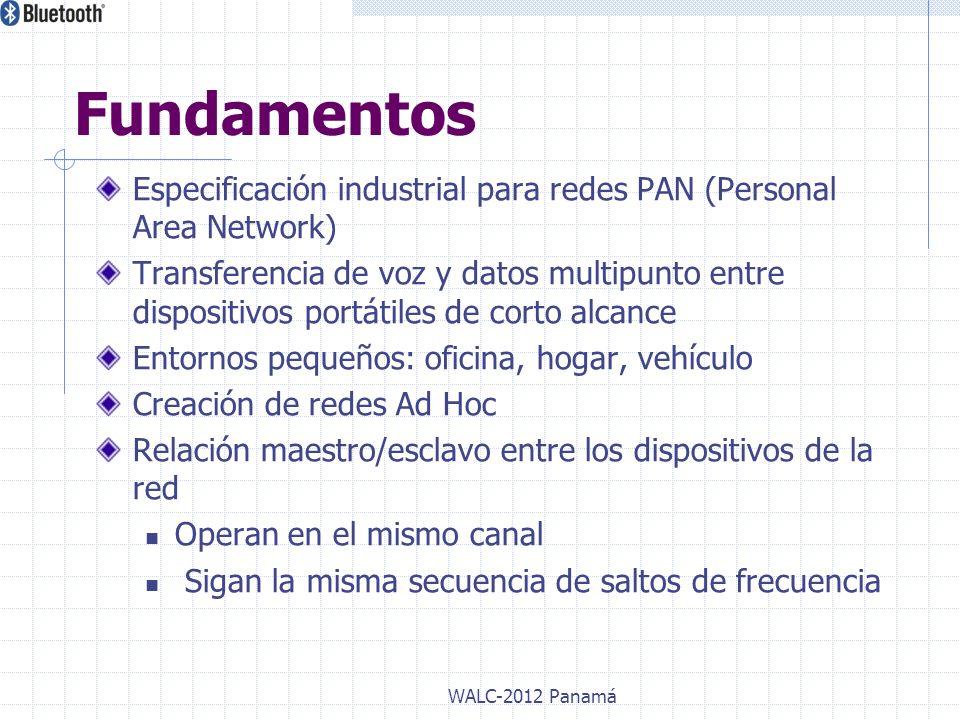 Especificación industrial para redes PAN (Personal Area Network) Transferencia de voz y datos multipunto entre dispositivos portátiles de corto alcanc