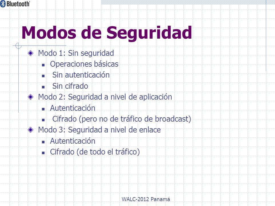 Modo 1: Sin seguridad Operaciones básicas Sin autenticación Sin cifrado Modo 2: Seguridad a nivel de aplicación Autenticación Cifrado (pero no de tráf