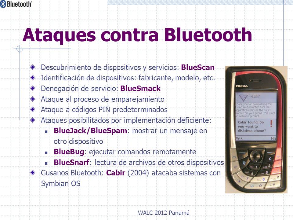 Descubrimiento de dispositivos y servicios: BlueScan Identificación de dispositivos: fabricante, modelo, etc. Denegación de servicio: BlueSmack Ataque