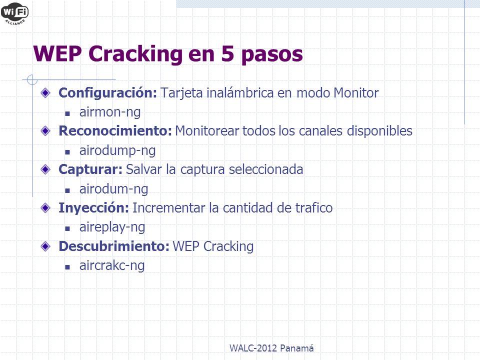 WALC-2012 Panamá WEP Cracking en 5 pasos Configuración: Tarjeta inalámbrica en modo Monitor airmon-ng Reconocimiento: Monitorear todos los canales dis