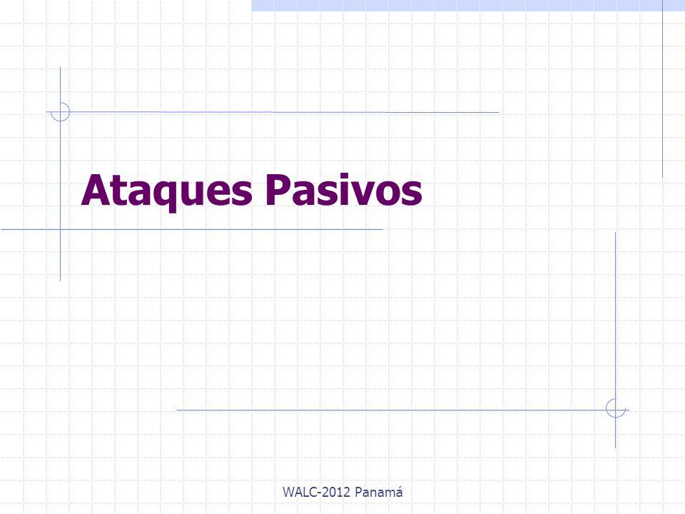Protocolos de Seguridad WLAN DescripciónWEPWPAWPA2 AutenticaciónN/AIEEE 802.1X/EAP/PSK Algoritmo Criptográfico RC4 AES Tamaño de la Llave40 o 104 bits128 bits Método de CifradoWEPTKIPCCMP Integridad de DatosCRC-32MICCCM Llaves por paquetesNoSI Longitud del IV24 bits48 bits WALC-2012 Panamá
