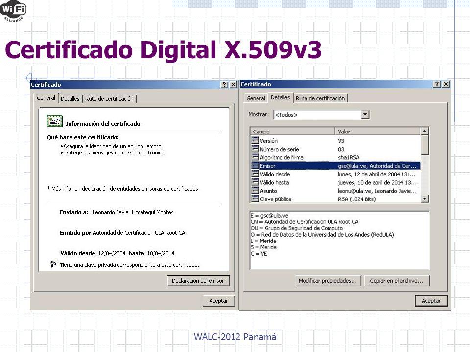 WALC-2012 Panamá Certificado Digital X.509v3