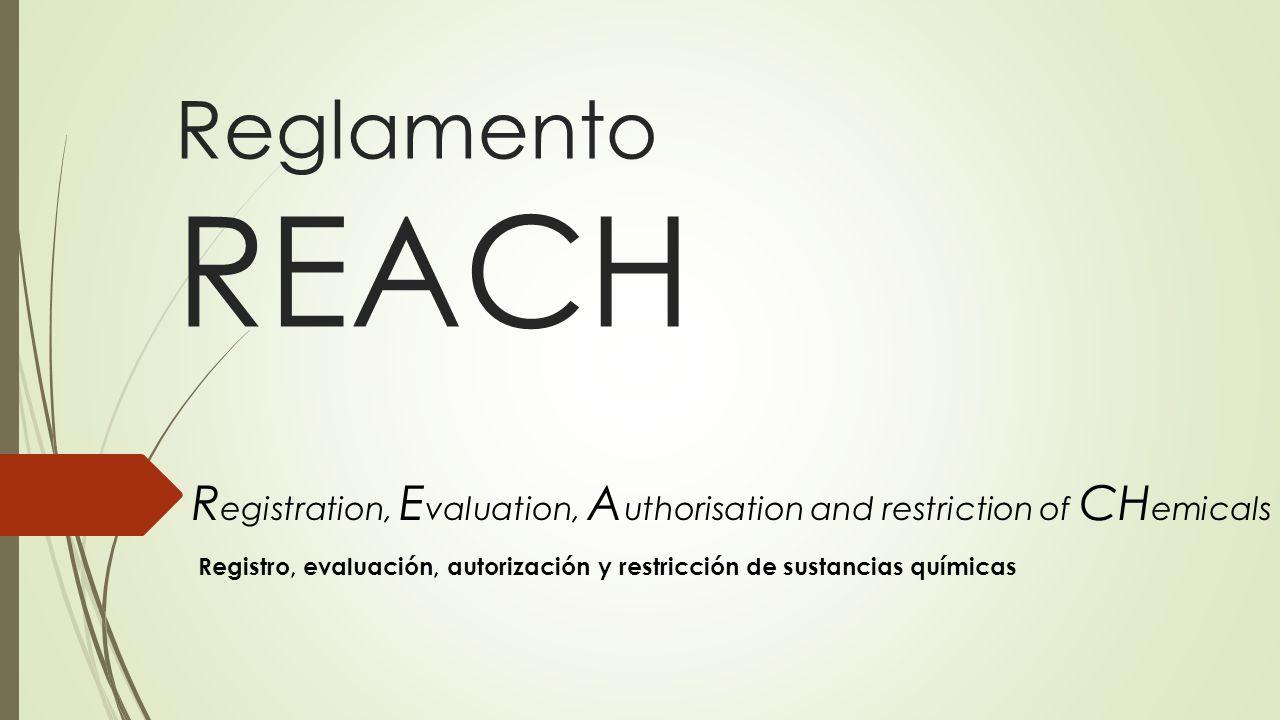 Reglamento REACH R egistration, E valuation, A uthorisation and restriction of CH emicals Registro, evaluación, autorización y restricción de sustanci