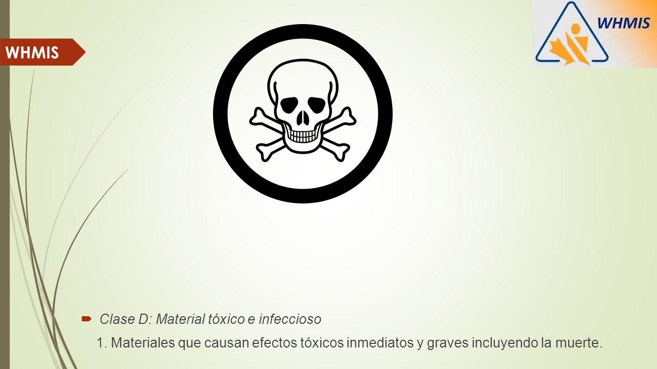 Clase D: Material tóxico e infeccioso 1. Materiales que causan efectos tóxicos inmediatos y graves incluyendo la muerte. WHMIS