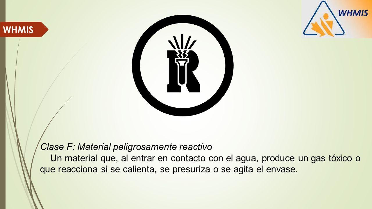 Clase F: Material peligrosamente reactivo Un material que, al entrar en contacto con el agua, produce un gas tóxico o que reacciona si se calienta, se