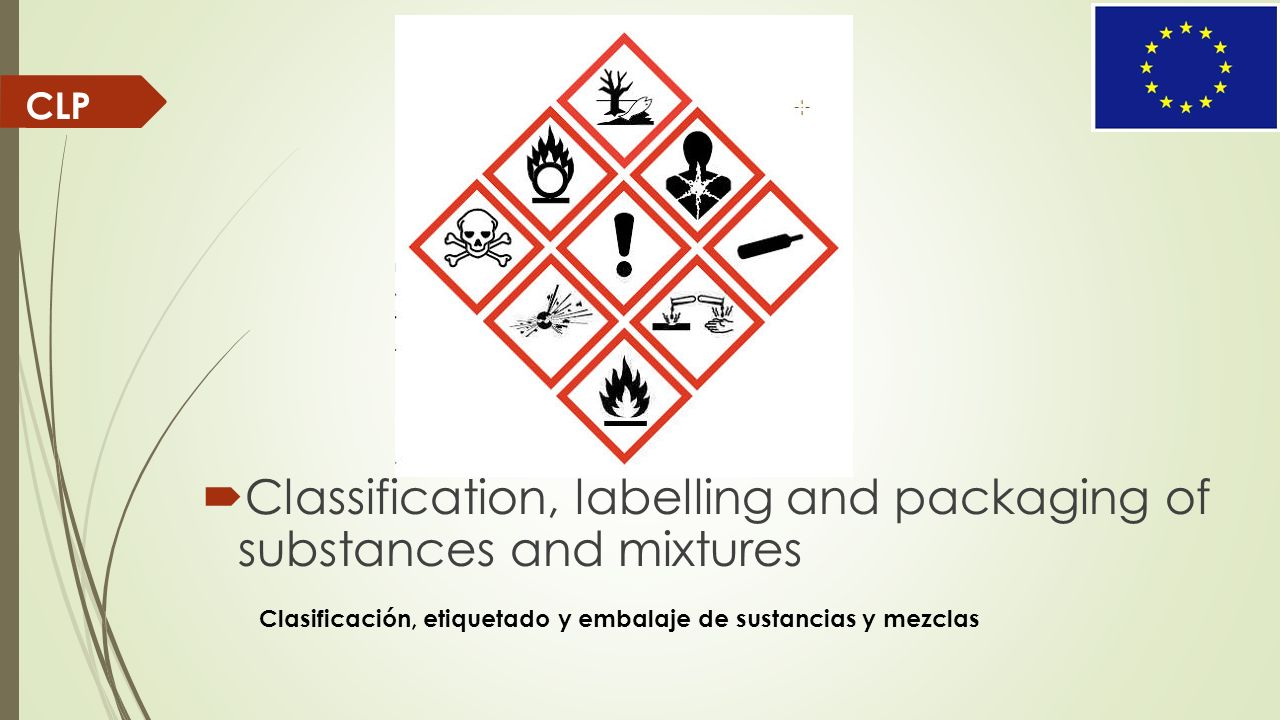 CLP Classification, labelling and packaging of substances and mixtures Clasificación, etiquetado y embalaje de sustancias y mezclas