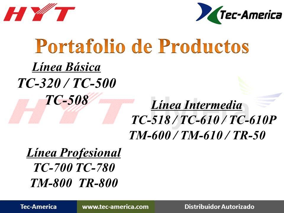Tec-Americawww.tec-america.comDistribuidor Autorizado TR-800 Caracteristicas Rangos de Frecuencia Disponibles: UHF: 400-470 MHz 450-512 MHz VHF: 136-174 MHz Especificaciones y Funciones: 512 Canales con Funcion de SCAN POtencia de RF Ajustable: 50 W / 25 W (VHF), 45 W / 25 W (UHF) Panel frontal Integrado con 6 teclas iluminadas Features: Modos de Operacion: Estacion Base, Uni-direccional o Bi-Direccional Programable: Repeater Hang-Time Fuente de Alimentacion AC/DC Conexion para carga Flotante permite transicion a Baterias – falla de AC Ventilacion controlada Termicamente, velocidad variable Opcion: Duplexor Interno / Externo 24.25 lbs.