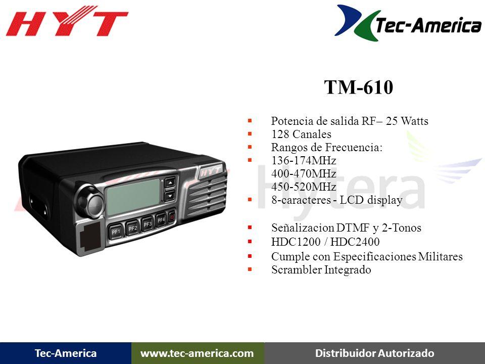 Tec-Americawww.tec-america.comDistribuidor Autorizado Potencia de salida RF– 25 Watts 8 Canales Rangos de Frecuencia: 136-174MHz 400-470MHz 450-520MHz