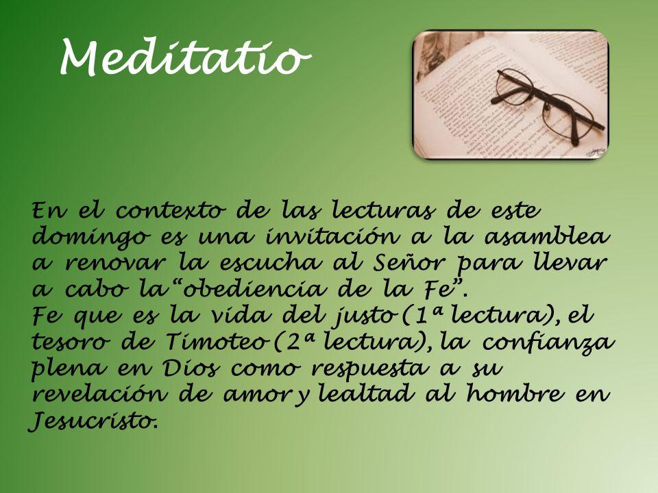 Meditatio En el contexto de las lecturas de este domingo es una invitación a la asamblea a renovar la escucha al Señor para llevar a cabo la obedienci