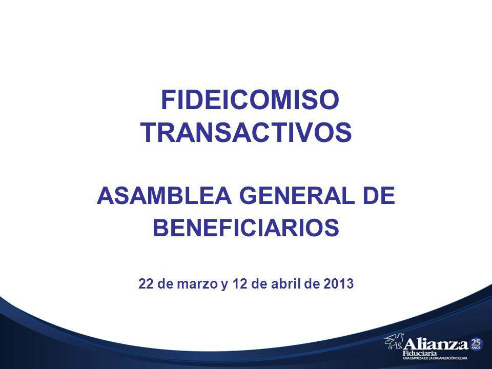 1 FIDEICOMISO TRANSACTIVOS ASAMBLEA GENERAL DE BENEFICIARIOS 22 de marzo y 12 de abril de 2013