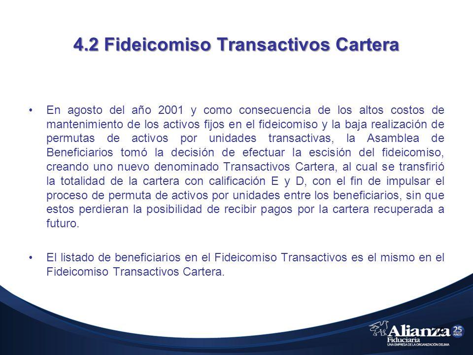 4.2 Fideicomiso Transactivos Cartera En agosto del año 2001 y como consecuencia de los altos costos de mantenimiento de los activos fijos en el fideic