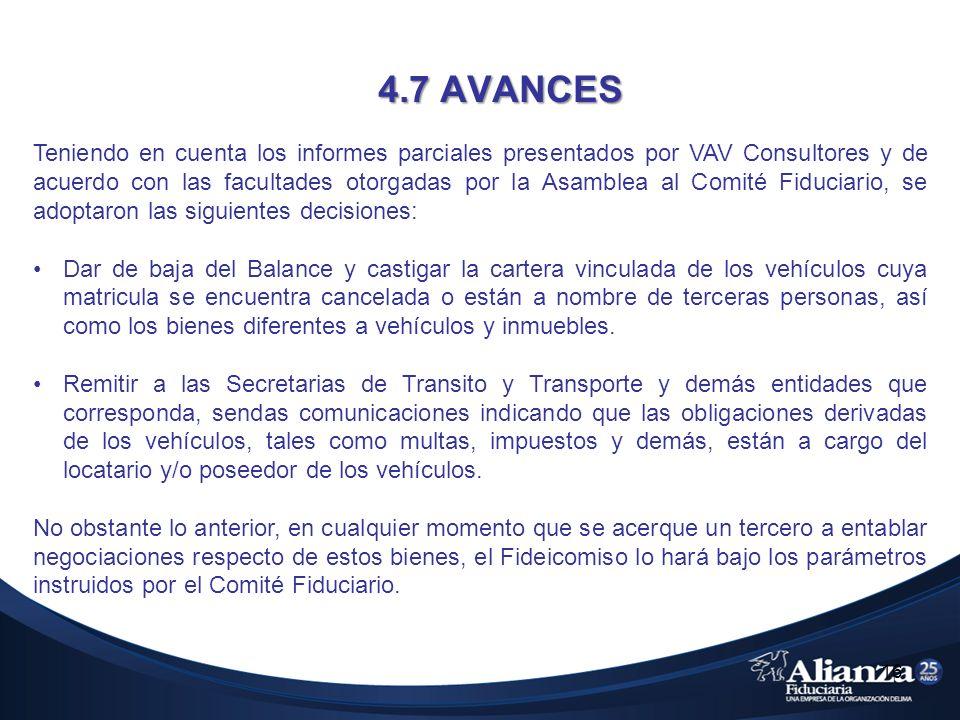 4.7 AVANCES 16 Teniendo en cuenta los informes parciales presentados por VAV Consultores y de acuerdo con las facultades otorgadas por la Asamblea al