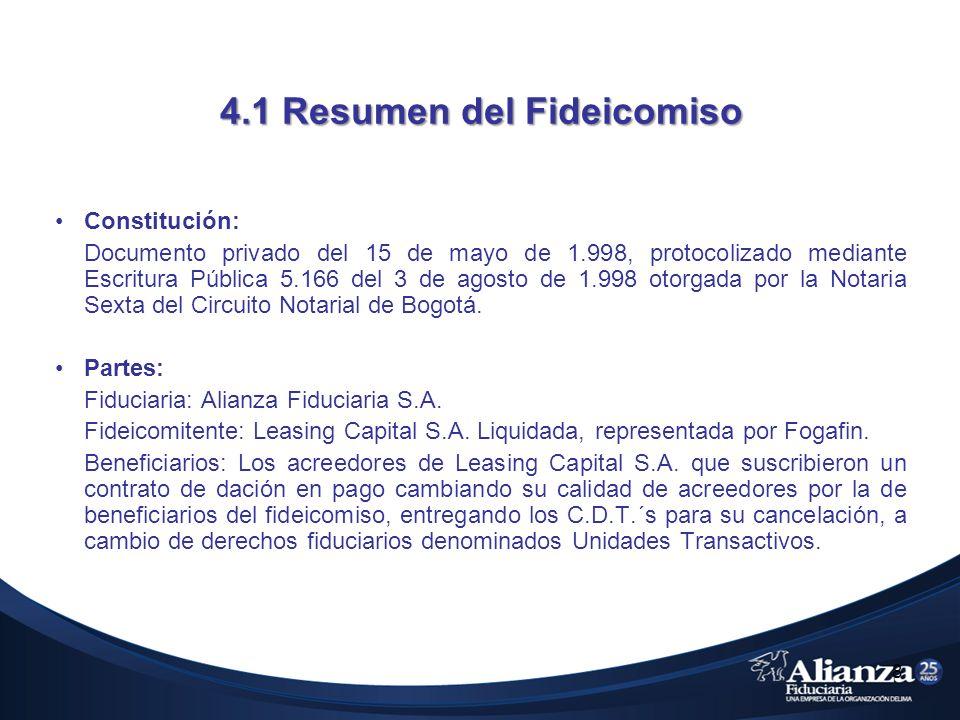 4.1 Resumen del Fideicomiso Constitución: Documento privado del 15 de mayo de 1.998, protocolizado mediante Escritura Pública 5.166 del 3 de agosto de 1.998 otorgada por la Notaria Sexta del Circuito Notarial de Bogotá.